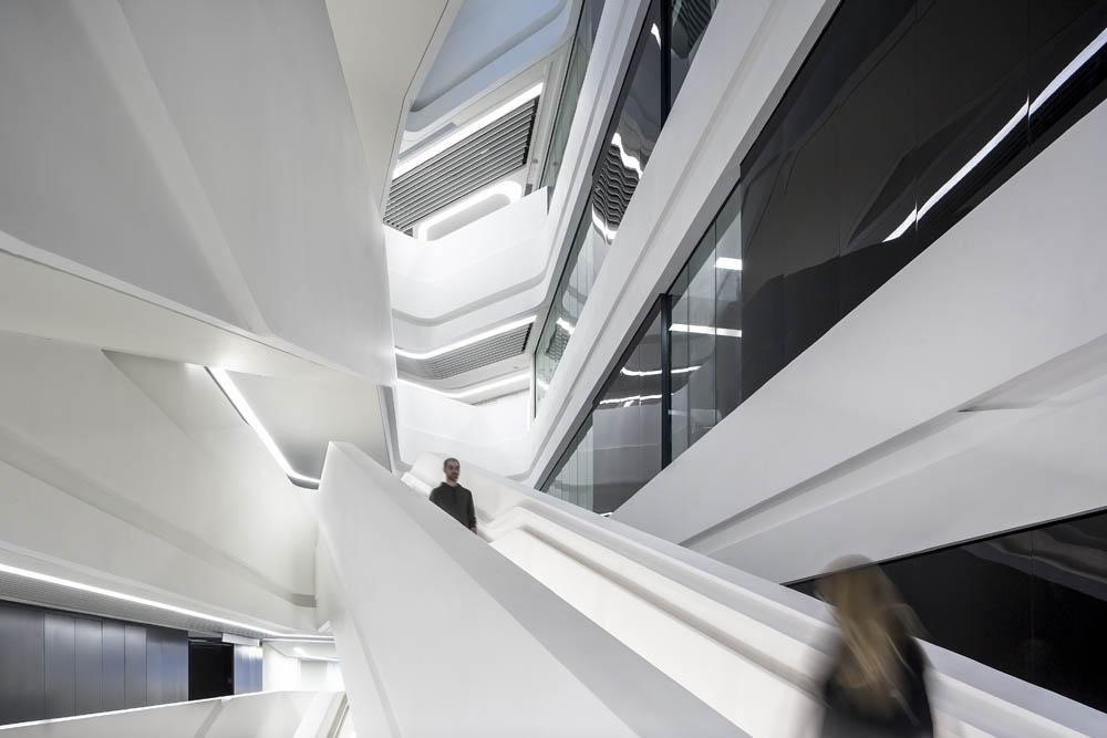 Jockey Club Innovation Tower, Hong Kong, China. Architect: Zaha Hadid Architects, 2014.