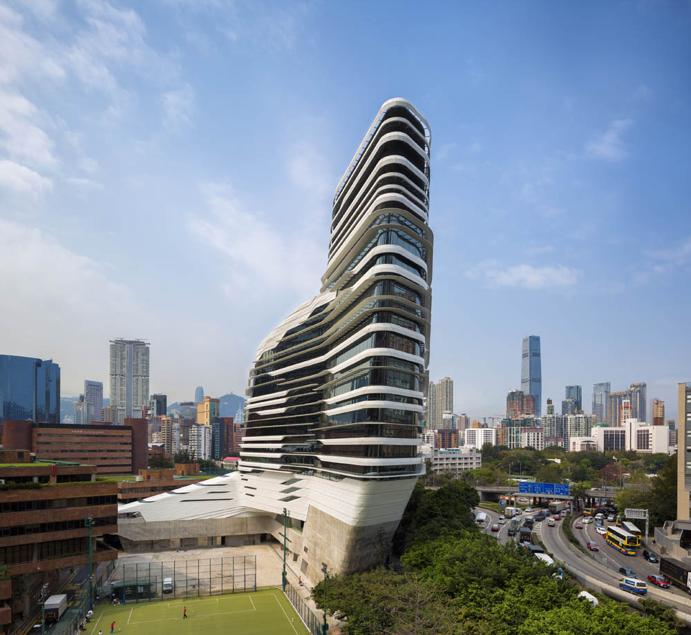Jockey Club Innovation Tower, Hong Kong, China. Architect: Zaha Hadid Architects, 2014.